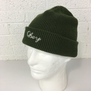 Obey green knit beanie